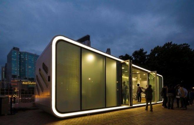 ALPOD проект мобильного дома будущего сделанный из алюминия поэтому он сочетает прочность и лёгкость для удобного перемещения Конструкция оборудованна мансардными окнами и раздвижными дверями
