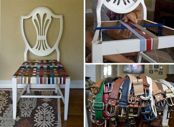 Ремонт старого стула при помощи ремней