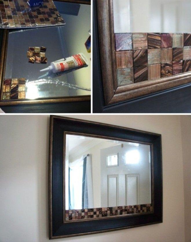 Клей и стеклянная мозаика для декора треснувшего зеркала