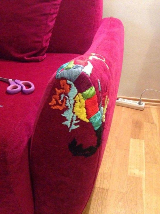 Декор обивки мягкой мебели абстрактными узорами из пряжи