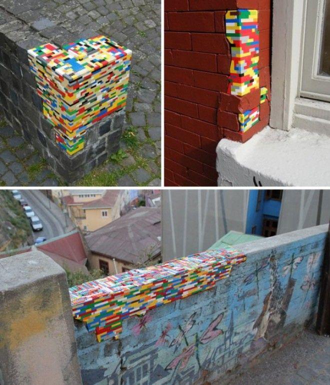 Ремонт разрушающихся стен при помощи кубиков из конструктора