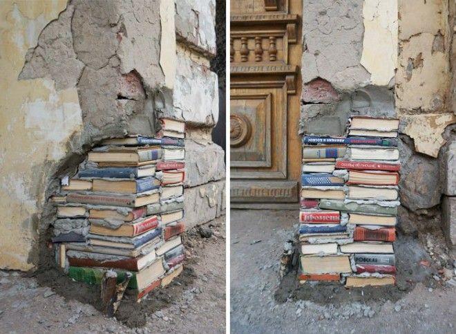 Книги стали частью стен одной из российских библиотек