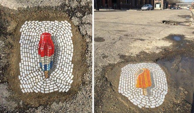 Мозаики в ямах на дорожном полотне в Чикаго