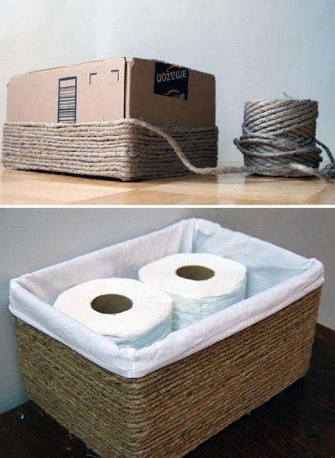 Стильная корзинка для хранения из обычной коробки