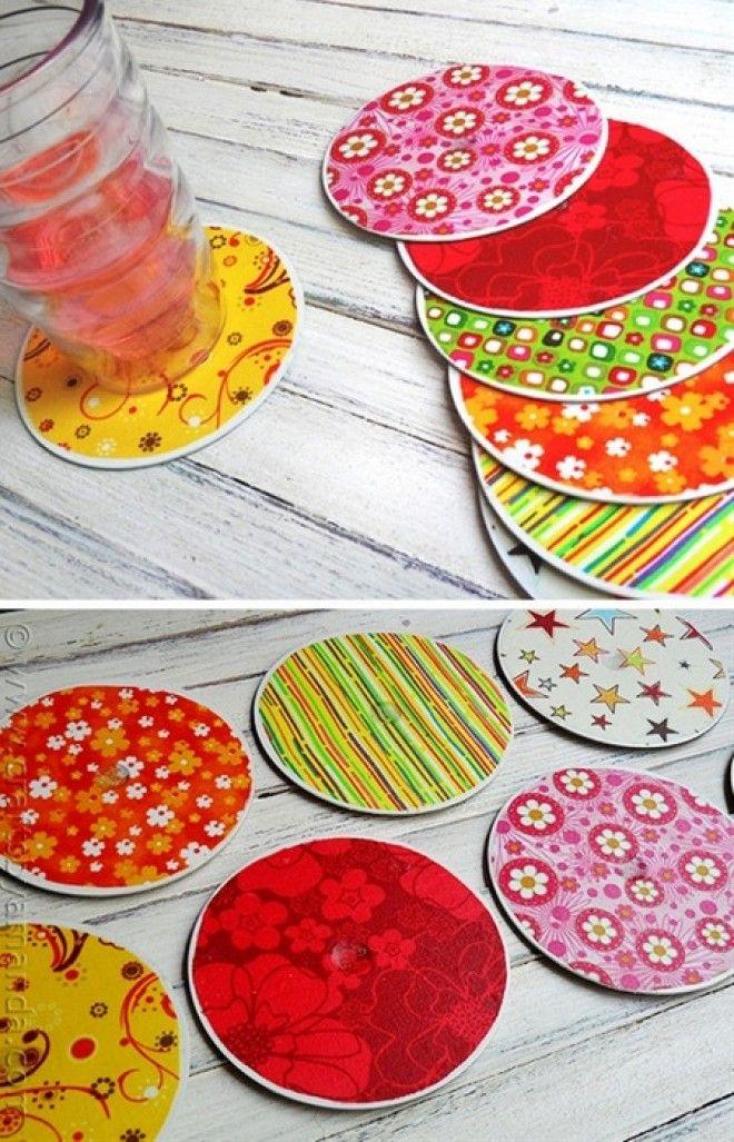 Подставки для чашек и стаканов из дисков