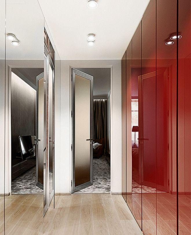 Глянцевые поверхности в узкой комнате