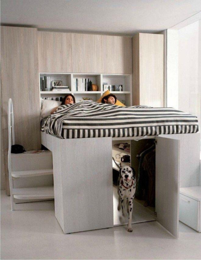 Кроватьчердак с местом для питомца