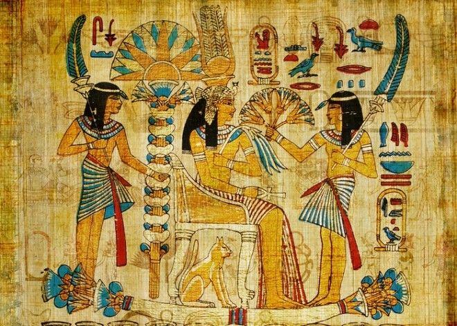 Папирус с древней лодкой Фото tteosfm