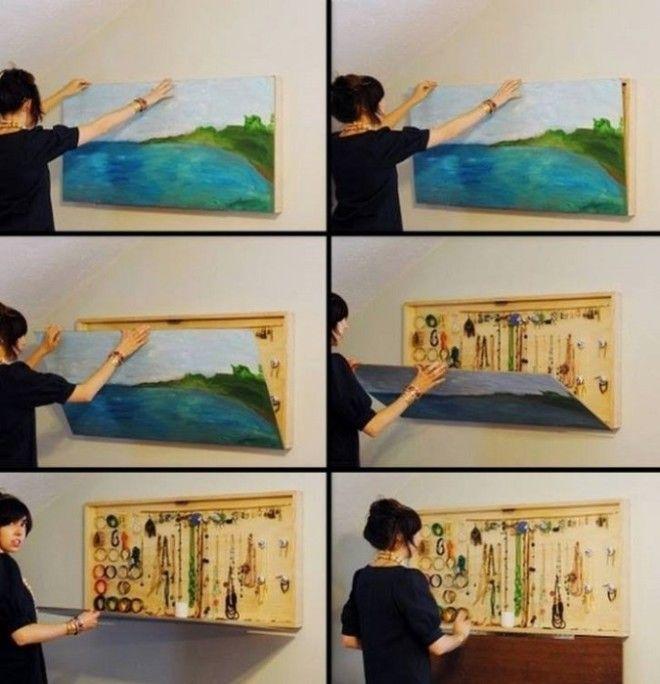 Украсьте свою стену обыкновенной картиной но внутри картины можно хранить разные драгоценности