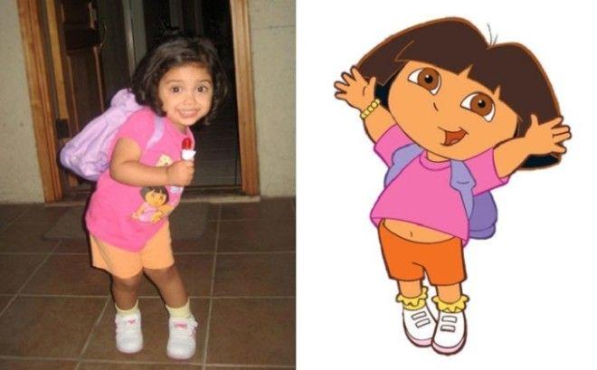 Маленькая девочка выглядит точно так же как любимая мультипликационная героиня