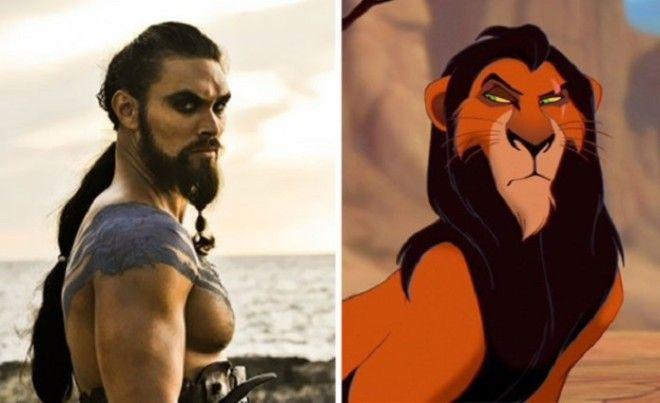 Актер Джейсон Момоа Jason Momoa в роли Кхала Дрого очень похож на льва вплоть до шрама на брови
