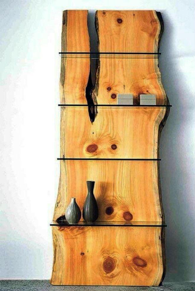 Стеллаж из грубой древесины