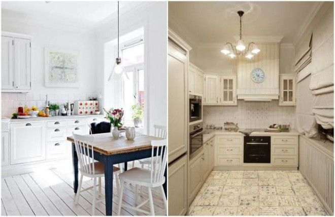 Светлый пол на кухне визуально расширит пространство