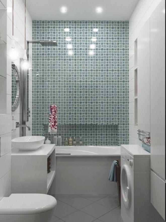 Оригинальная мозаика цвета морской волны в современном интерьер ванной комнаты