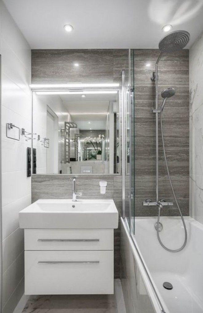 Для визуального зонирования ванной комнаты можно использовать любые нейтральные оттенки