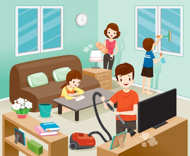 cleaning home vector