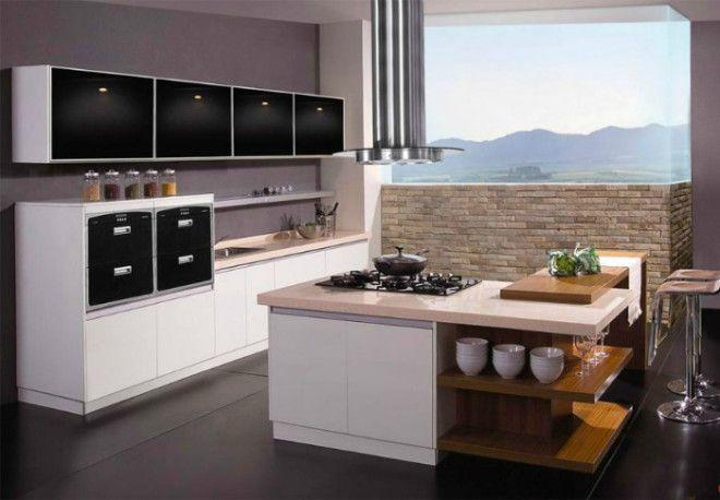 Кухонный островок с плитой