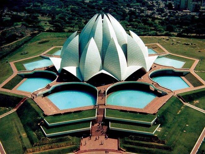 Вид сверху Храм лотоса Индия