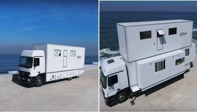 Трансформация грузовика в комфортабельный комплекс Truck Surf Hotel