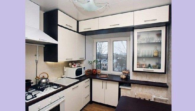 Пример рационального использования площади маленькой кухни