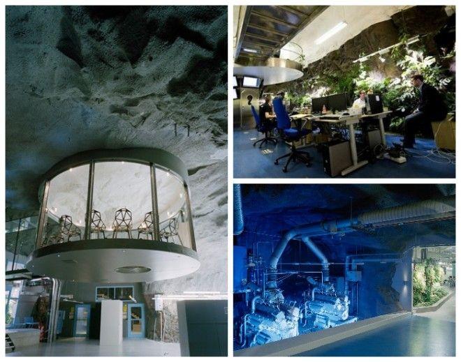 Подземный офис интернетпровайдера Bahnhof Office в Стокгольме Швеция