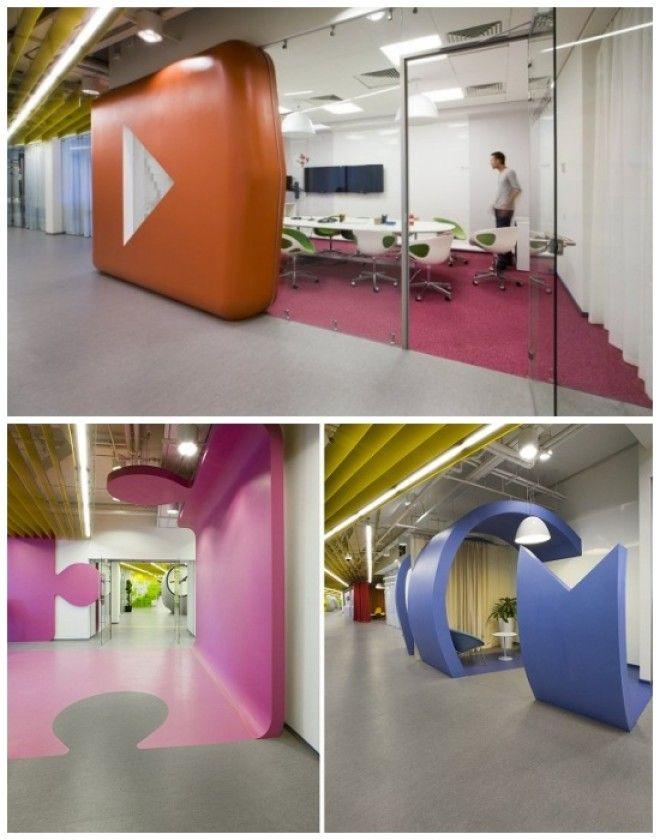 Жизнерадостный интерьер офиса для интернеткомпании Яндекс в СанктПетербурге Россия