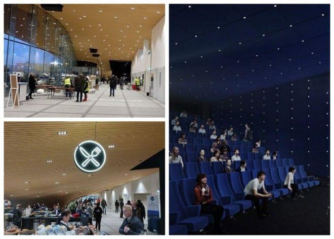 На первом этаже создали лектории кинозал кафетерий и залы для проведения различных мероприятий Центральная библиотека Oodi Хельсинки