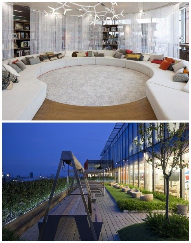 Зона библиотеки и открытая терраса максимально комфортны Штабквартира Google в Лондоне Великобритания