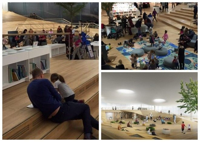 В огромном читальном зале уделено особое внимание детям Центральная библиотека Oodi Хельсинки