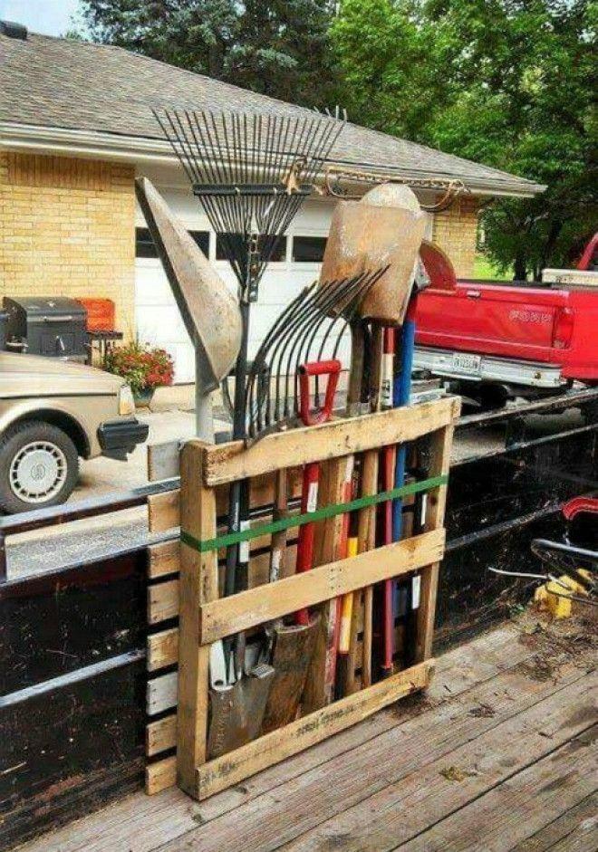 Хранение садового инвентаря Фото Pinterest