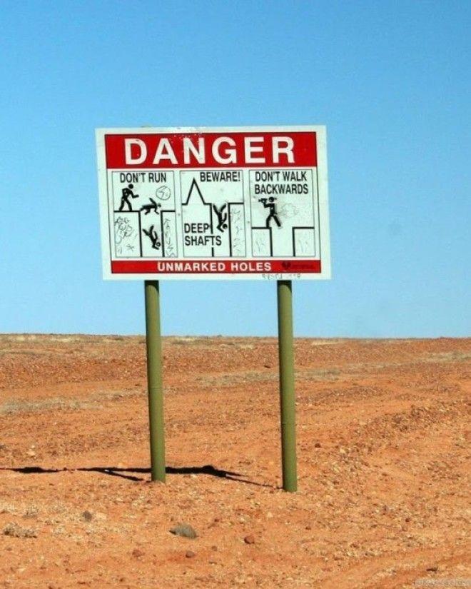 По всей территории где расположен подземный город установлены предупреждающие знаки КуберПеди Австралия Фото kakzachemru